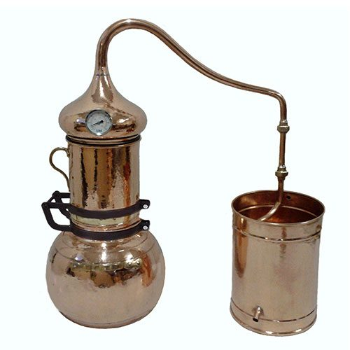 Copper Essential Oil Distiller with Hinged Column 10 Gallon 40 Liter