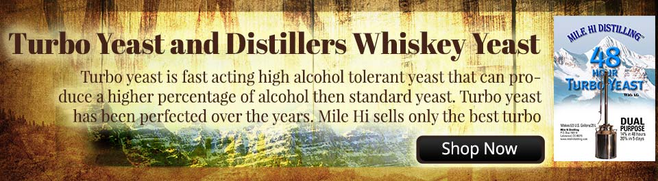 Turbo distillers yeast is fast acting high alcohol tolerant yeast that can produce a higher percentage of alcohol then standard yeast. Turbo yeast has been perfected over the years. Mile Hi sells only the best turbo distillers yeast available.
