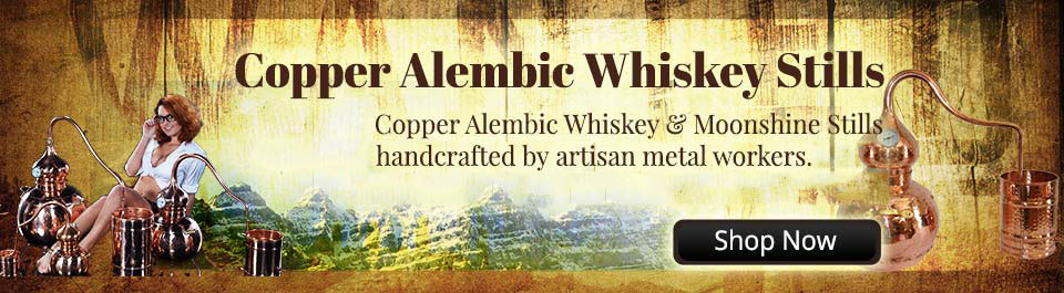 Alembic whiskey still made from pure copper
